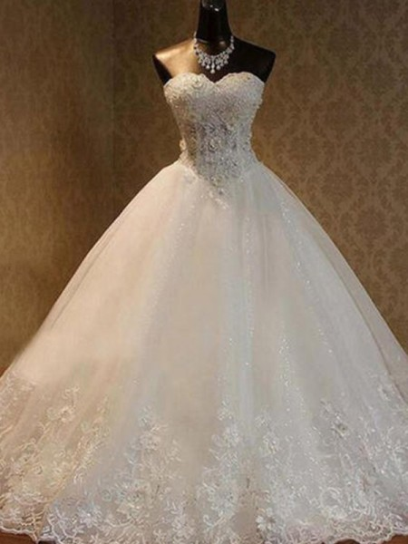 Ball Gown Sweetheart Floor-Length Sleeveless Beading Tulle Wedding Dresses