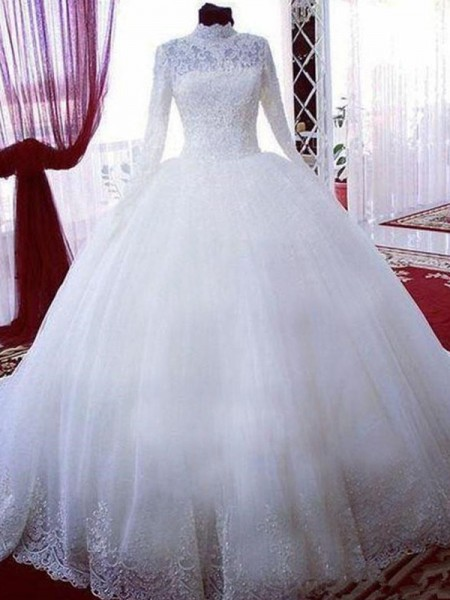 Ball Gown High Neck Chapel Train Long Sleeves Tulle Wedding Dresses