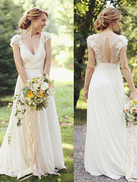 A-Line/Princess V-neck Sweep/Brush Train Short Sleeves Ruched Chiffon Wedding Dresses