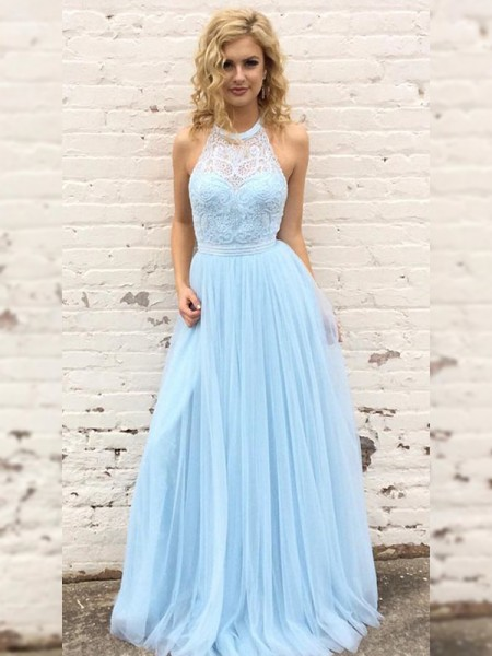 A-Line/Princess Tulle Sleeveless Floor-Length Halter Prom Dresses