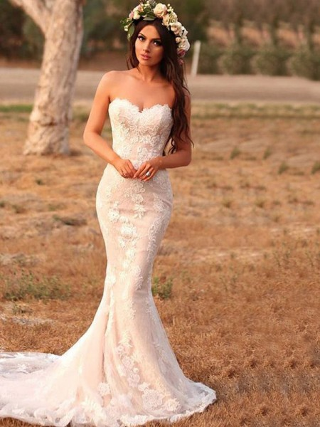 Trumpet/Mermaid Sweetheart Sleeveless Applique Sweep/Brush Train Lace Wedding Dresses
