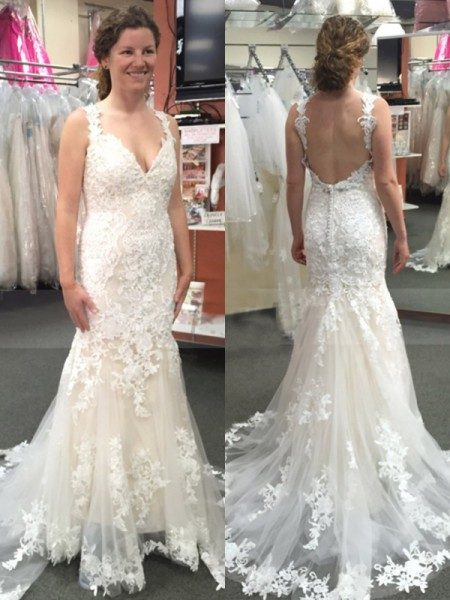 Trumpet/Mermaid Straps Sleeveless Applique Sweep/Brush Train Tulle Wedding Dresses