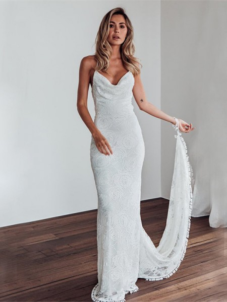 Sheath/Column Spaghetti Straps Sleeveless Sweep/Brush Train Lace Wedding Dresses