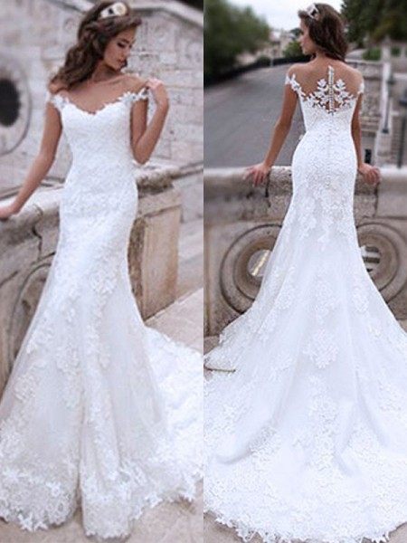 Trumpet/Mermaid Off-the-Shoulder Sleeveless Applique Sweep/Brush Train Tulle Wedding Dresses