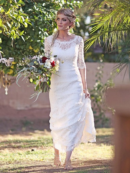Sheath/Column Bateau 1/2 Sleeves Sweep/Brush Train Lace Wedding Dresses
