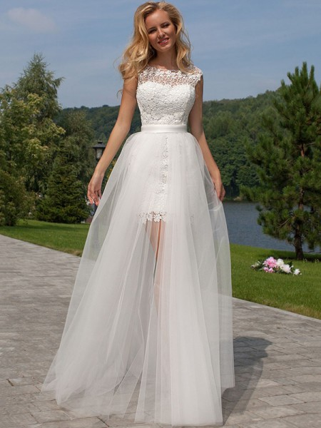 Sheath/Column Scoop Tulle Floor-Length Sleeveless Wedding Dresses