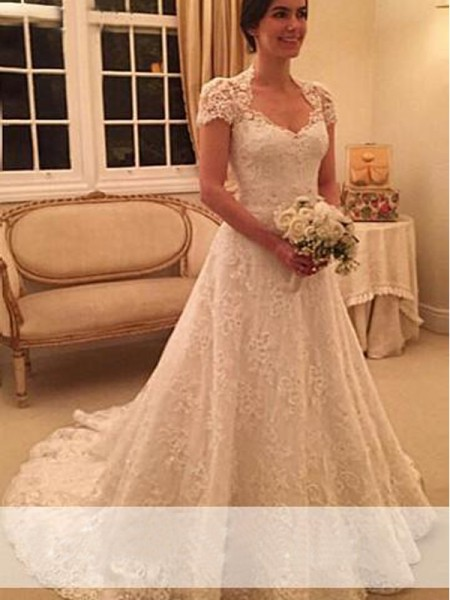 A-Line/Princess Sweetheart Lace Court Train Short Sleeves Wedding Dresses
