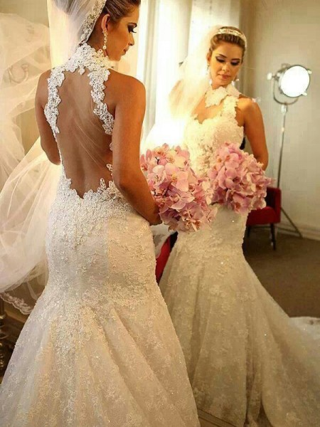 Trumpet/Mermaid High Neck Lace Court Train Sleeveless Wedding Dresses