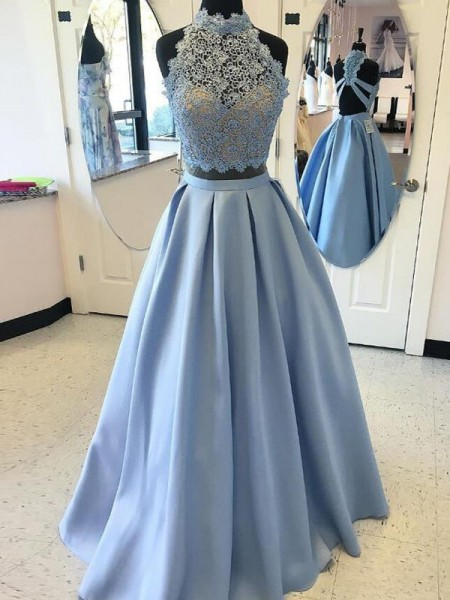 Ball Gown High Neck Satin Applique Floor-Length Sleeveless Dresses