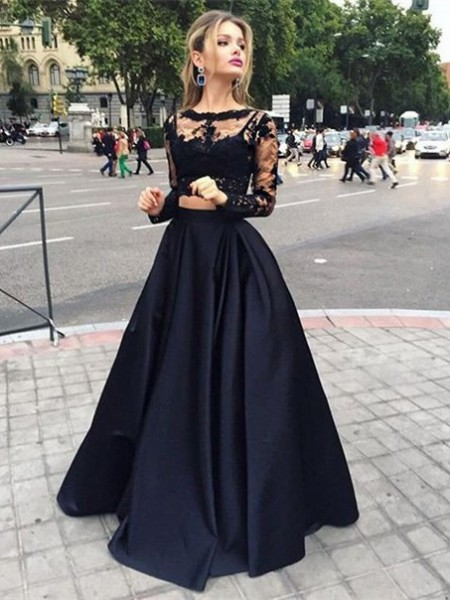 Ball Gown Bateau Long Sleeves Floor-Length Beading Satin Dresses