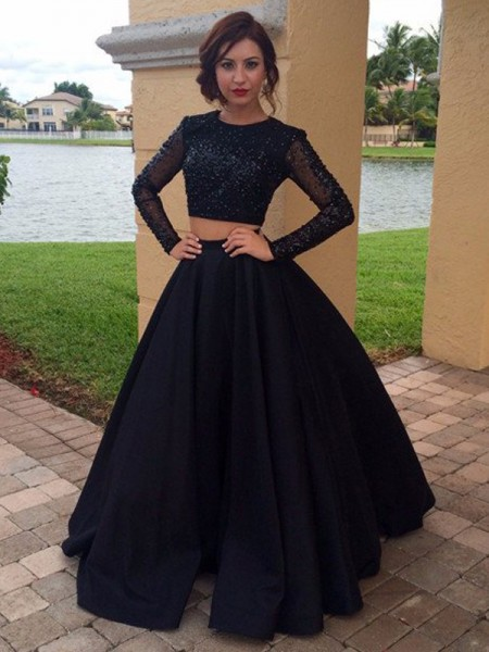 Ball Gown Scoop Long Sleeves Floor-Length Beading Satin Dresses