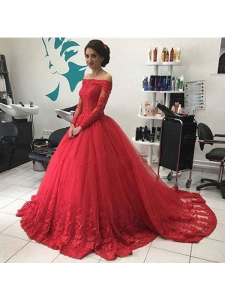 Ball Gown Off-the-Shoulder Long Sleeves Court Train Tulle Dresses