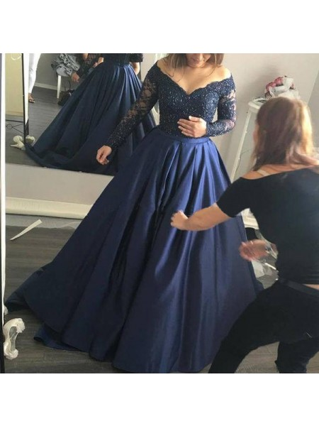 Ball Gown Off-the-Shoulder Long Sleeves Sweep/Brush Train Beading Satin Dresses
