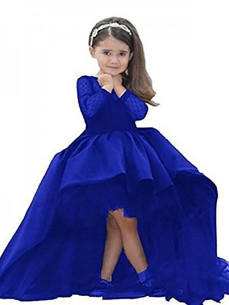 Ball Gown Long Sleeves Scoop Satin Sash/Ribbon/Belt Sweep/Brush Train Flower Girl Dresses