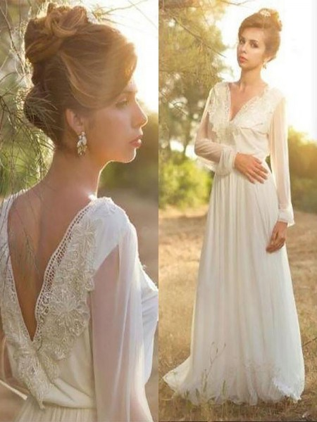 A-Line/Princess V-neck Long Sleeves Sweep/Brush Train Chiffon Wedding Dresses