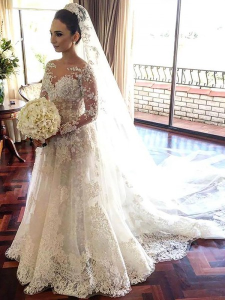 A-Line/Princess Bateau Long Sleeves Chapel Train Tulle Wedding Dresses