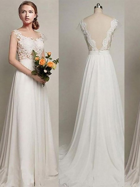 A-Line/Princess Scoop Sleeveless Sweep/Brush Train Chiffon Wedding Dresses