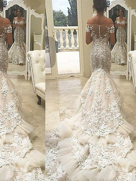 Trumpet/Mermaid Off-the-Shoulder Short Sleeves Chapel Train Tulle Wedding Dresses