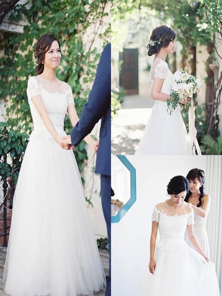 A-Line/Princess Bateau Short Sleeves Sweep/Brush Train Tulle Wedding Dresses