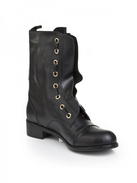 Women's Cattlehide Leather With Lace-up Kitten Heel Mid-Calf Black Boots