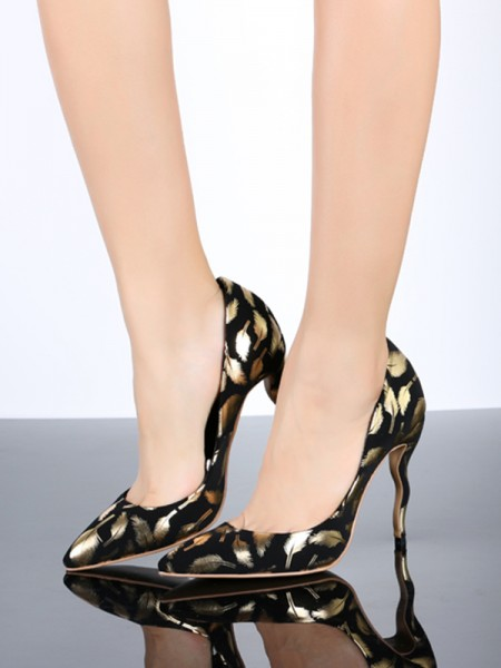 Women's Gold Closed Toe PU Stiletto Heel With Animal Print High Heels