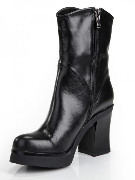 Women's Cattlehide Leather Chunky Heel Platform Closed Toe With Zipper Mid-Calf Black Boots