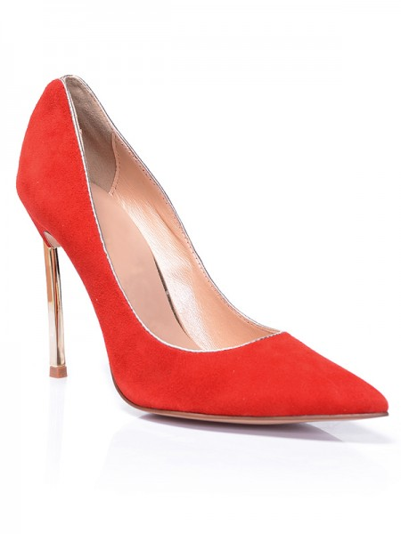 Women's Red Closed Toe Suede Stiletto Heel High Heels