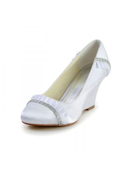 Women's Satin Wedge Heel Wedges Closed Toe White Wedding Shoes