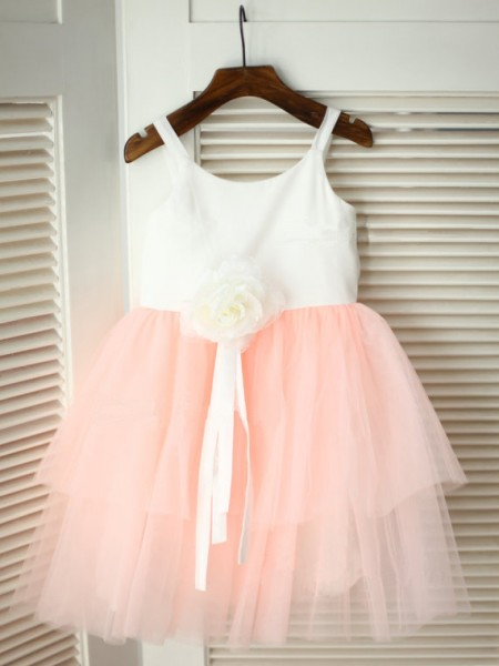 A-Line/Princess Sleeveless Spaghetti Straps Tulle Hand-Made Flower Tea-Length Flower Girl Dresses