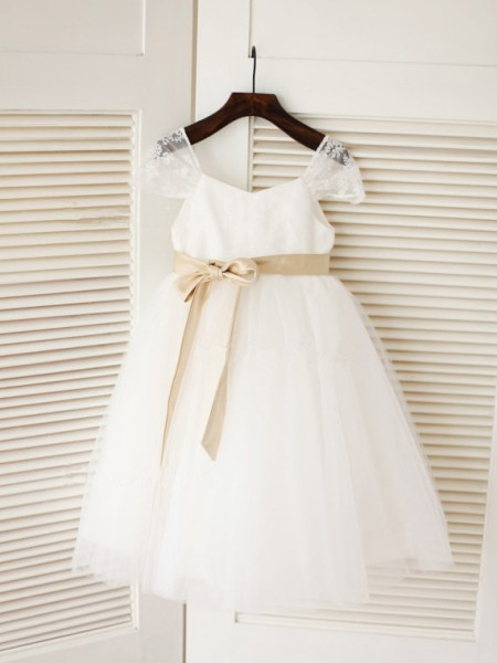 Ball Gown Sleeveless Scoop Tulle Sash/Ribbon/Belt Tea-Length Flower Girl Dresses