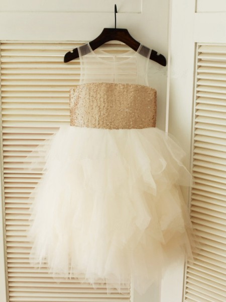 Ball Gown Sleeveless Scoop Tulle Ruffles Tea-Length Flower Girl Dresses