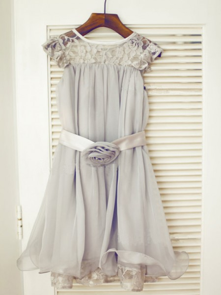 A-Line/Princess Sleeveless Scoop Chiffon Lace Tea-Length Flower Girl Dresses