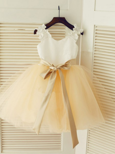 Ball Gown Sleeveless Straps Tulle Sash/Ribbon/Belt Tea-Length Flower Girl Dresses