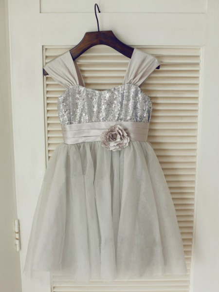 A-Line/Princess Sleeveless Straps Tulle Bowknot Tea-Length Flower Girl Dresses