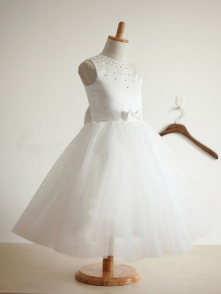 Ball Gown Sleeveless Jewel Tulle Bowknot Tea-Length Flower Girl Dresses