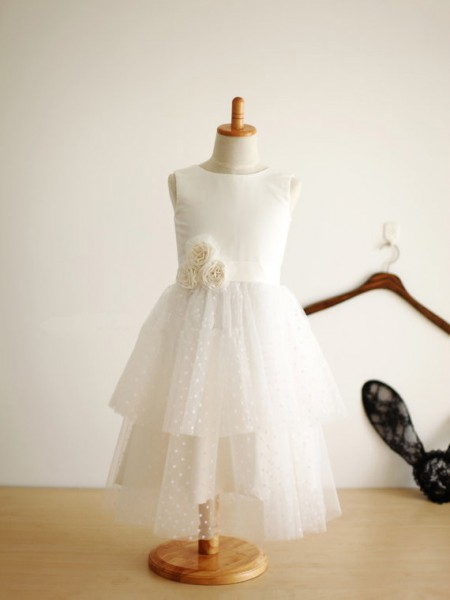 A-Line/Princess Sleeveless Jewel Tulle Hand-Made Flower Tea-Length Flower Girl Dresses