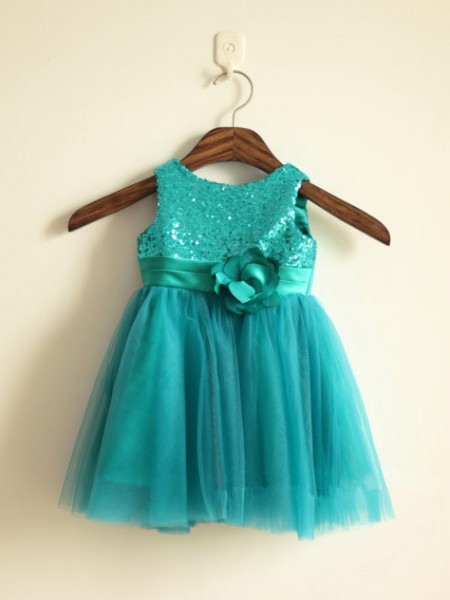 A-Line/Princess Sleeveless Scoop Tulle Sequin Ankle-Length Flower Girl Dresses