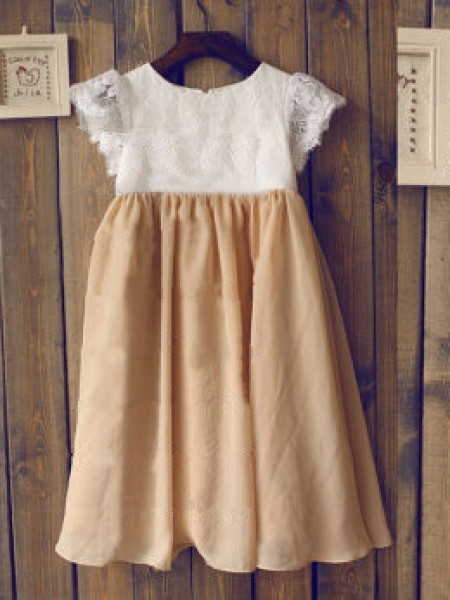 A-Line/Princess Short Sleeves Scoop Chiffon Lace Tea-Length Flower Girl Dresses