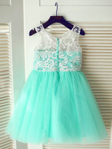 A-Line/Princess Sleeveless Scoop Tulle Lace Tea-Length Flower Girl Dresses