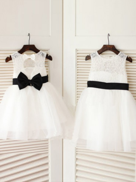 A-Line/Princess Sleeveless Scoop Tulle Bowknot Knee-Length Flower Girl Dresses