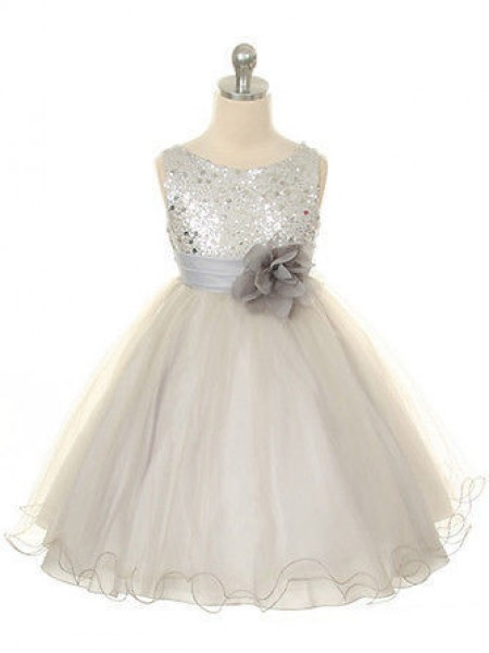 Ball Gown Sleeveless Jewel Tulle Hand-Made Flower Tea-Length Flower Girl Dresses