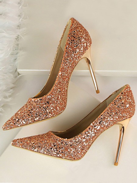 Sparkling Glitter Stiletto Heel Closed Toe Womens High Heels