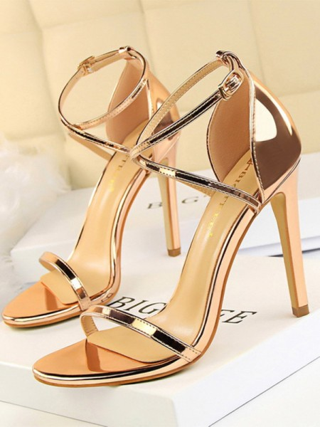 Patent Leather Stiletto Heel Peep Toe Womens Sandals