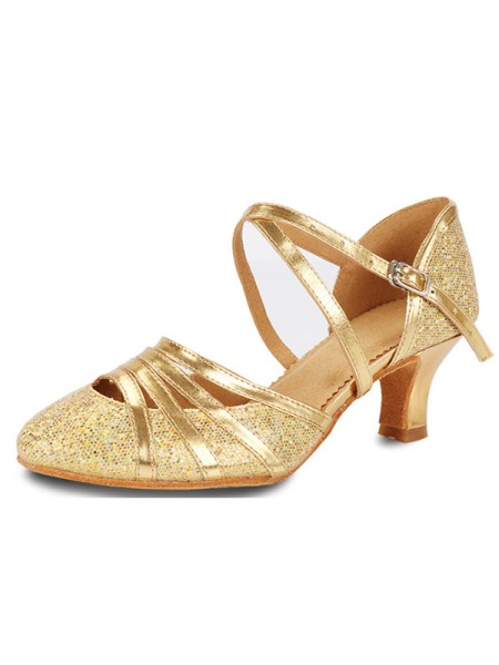 Sparkling Glitter Cone Heel Closed Toe Womens Sandals