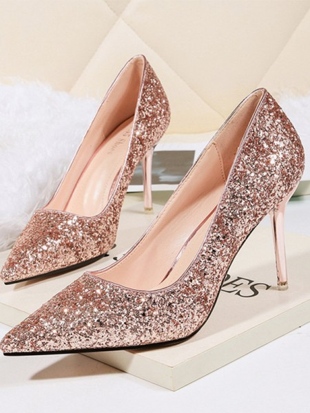 Stiletto Heel Sparkling Glitter Closed Toe Women's High Heels