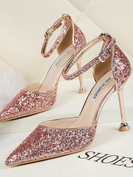 Sparkling Glitter Stiletto Heel Closed Toe Women's High Heels