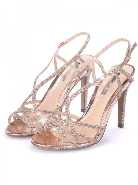 Rhinestone Stiletto Heel Peep Toe Women's Sandals