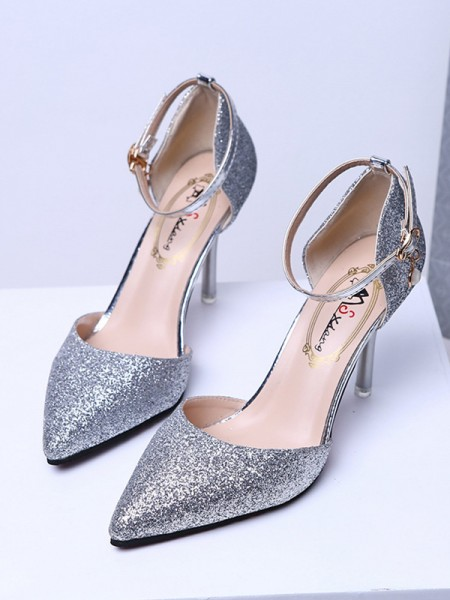 Closed Toe Sparkling Glitter Stiletto Heel Women's High Heels