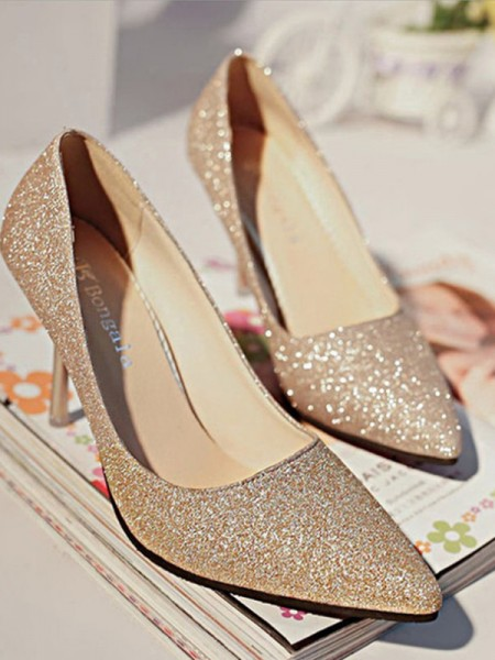 Sparkling Glitter Closed Toe Women's High Heels Stiletto Heel