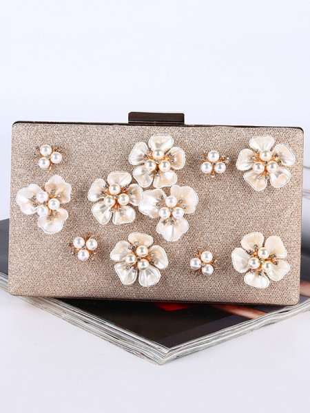 Pearl 3D Flowers Wedding Evening Party Purse